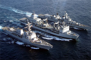 India deploys four warships and planes.