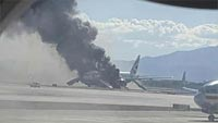 Boeing 777 plane catches fire on Las Vegas runway