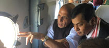 Rajnath in Assam, conducts aerial survey of flood hit areas