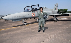 Flt.Lt. Mohana Singh first woman fighter pilot to complete Hawk by day training