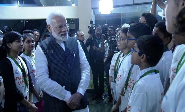 Modi cheers students at space centre amid gloom